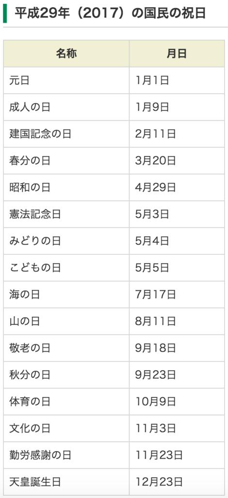 日本國定假日2017